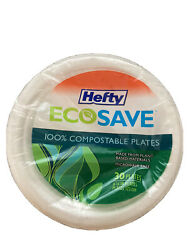 Hefty ECOSAVE Compostable Plates 6 3 4 Inch 30 Count 4 packs 120 Desert Snack $12.99