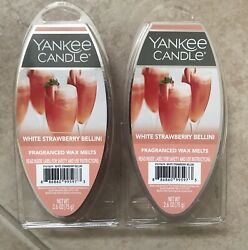 2 Packs Yankee Candle WHITE STRAWBERRY BELLINI 6 Pack Wax Melts 12 Total NEW $15.95