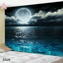 Blue Sea Moon Night Tapestries Wall Hanging Room Tapestry Bedroom Blankets Decor $21.56