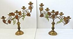 Antique Pair of Brass Church Altar 5 Light Candelabra 15quot; ht. with Glass Grapes $185.00