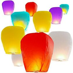 10pcs Paper Chinese Lanterns Assorted Colors For Wish Birthday Wedding Party NEW $29.20