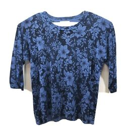 Rebecca Malone Blue Floral Plus Size 1X Embellished Blouse Women MSRP $52 $17.14