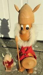 2 Vintage Mid Century Danish Modern Wooden Vikings 12 1 4quot; and 3 7 8quot; $34.66