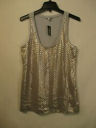 EXPRESS Scoop Neck Sleeveless Lined Party Tunic Top w Sequin Trim Size S NWT $12.67