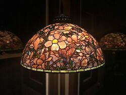 Vintage Rare Bronze Tiffany Reproduction Floor Lamp Stained Glass with Magnolias $19995.00