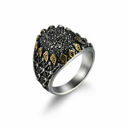 Vintage Cool Men#x27;s Stainless Steel Sunflower Black Ore Stone Ring Band Size#9 11 $10.44