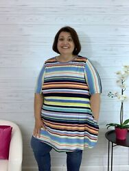 Christina blue striped swing tunic top with pockets $26.00