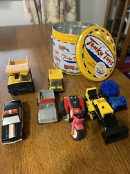 Vintage Small Tonka Toy Vehicles Lot of 7 Plus A Tonka Cookie Pail $39.99
