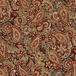 Vintage Cotton Calico Fabric * Shades of Brown Paisley * 17quot; X 44quot; Wide $5.00