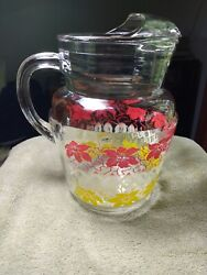 Vintage Glass Water Pitcher w Ice Lip Green White Red Yellow Decorated $21.95
