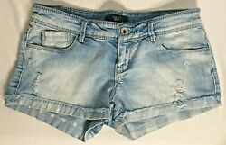 FOREVER 21 Distressed Denim Short Juniors Size 27 Cuffs 5 Pocket Blue Pre owned $9.50