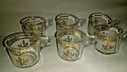 6 Vintage Glass Demitasse Cappuccino Coffee Mugs Cups With Handles $49.95