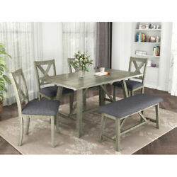 6Pcs Gray Rustic Style Wood Dining Table Set Bench 4 Chairs Kitchen Sets Home US $769.99