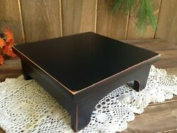 HANDCRAFTED Primitive Country Rustic 7quot; Black Distressed Farmhouse Wood Riser $14.99