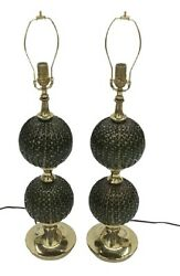 PAIR LARGE Alfredo Barbini Murano lamps in green gold with controlled bubbles $1800.00