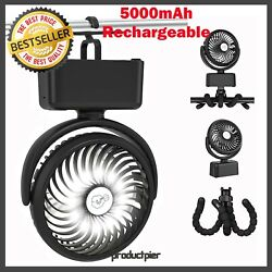 Stroller Portable Battery Camping Fan with LED Lantern Rechargeable 5000mAh $20.99