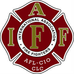 4quot; IAFF Decal Maroon with Gold and WhiteTrim Exterior Mount PLEASE READ AUCTION