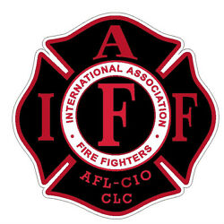 4quot; IAFF Decal Black with Red Trim Exterior Mount PLEASE READ AUCTION