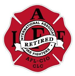 4quot; IAFF Decal Retired Red with Black Trim Exterior Mount PLEASE READ AUCTION