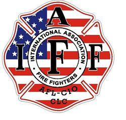 4quot; IAFF Decal American Flag Pattern Exterior Mount READ AUCTION