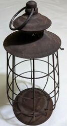 Vintage Rustic Wired Metal Lantern Farmhouse Country candle 13.5quot; Holder $25.00