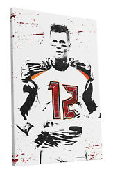 Tampa Bay Buccaneers Tom Brady Art Wall Room Canvas Poster CANVAS $24.99