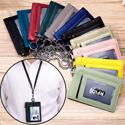 Men Womens Slim Minimalist Front Pocket RFID Blocking Leather Wallets with Chain $9.79