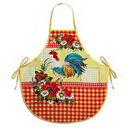 Rooster and Flowers Kitchen Apron Red Made in Russia $16.95