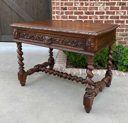 Antique French Desk Writing Table Drawer Oak Barley Twist Office Library Study $2875.00
