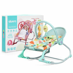 Adjustable Infant Rocker Bouncer Baby Rocking Chair Toddler w Awning Green $37.49