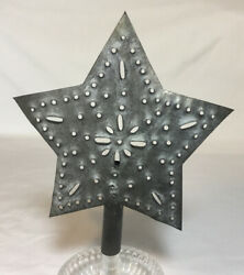 Tin Punched Star Christmas Tree Topper Primitive $15.95