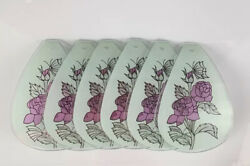 6 Touch Lamp Shades Glass Panels Purple Roses Butterfly White Small 6quot;L x 3.75quot;W $24.99