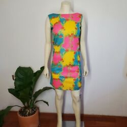 70s Psychedelic Mini Gogo Dress Hot Pink Vintage XS S $89.00