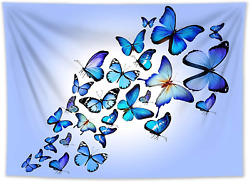 HVEST Blue Butterfly Tapestry Wall Hanging for Girl Teen Bedroom Aesthetic Water $20.99