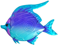 Comfy Hour Under The Sea Collection 10quot; Purple Blue Metal Art Fish Wall Decor $21.99