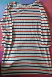Blue Red White Stripe Sleeve T Shirt Mini Dress French style size M $8.00