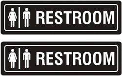 Restroom Sign Unisex for Business and Home 7quot; x 2quot; Self Adhesive Metal for Offi $12.99