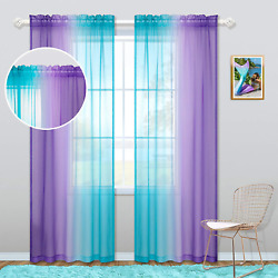 Kids Curtain Rod Pocket for Girls Bedroom Sets Coloful Ombre Aqua Turquoise Teal $31.99
