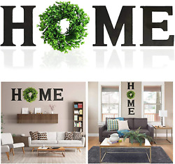 Huinsh Home Letter Decorative Sign Wall Hanging Wooden Home Signs with Green Wre $38.99