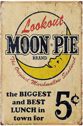 Moon Pie Brand Retro Vintage Tin Sign Wall Metal Signs Posters for Home Kitchen $14.99