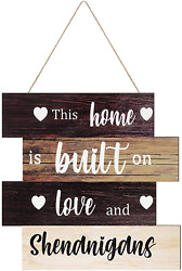 Jetec Rustic Family Wall Sign Large Wooden Hanging Wall Sign Farmhouse Home Sign $10.99