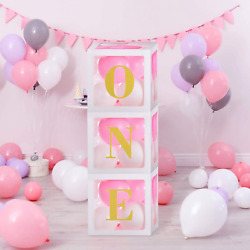 1st Birthday Girls Decorations One Birthday Balloons Boxes for Baby Girls First $26.99