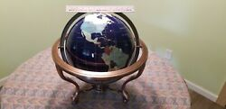 Extra Large 12quot; Diameter Semi Precious Stone Globe Bronze Stand with Compass $300.00