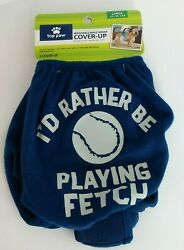 Cover Up TOP PAW Washable Pet Dog Male Size Large Color Blue quot; Playing Fetch quot; $5.59