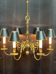 """Vintage Stately Solid Brass Bouillotte Chandelier French Colonial Georgian 26"""" A $2350.00"""