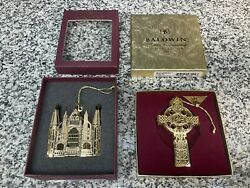 2 Vintage Baldwin Brass Christmas Ornament Lot 11 Cathedral and Cross $35.00