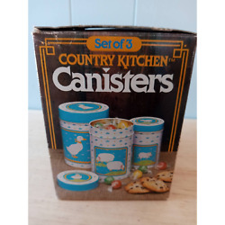 Vintage Country Kitchen Canisters Duck Sheep Small Set of 3 1984 $26.00