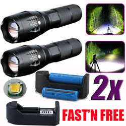 990000LM T6 Focus Powerful 5Modes Flashlight Rechargeable Battery w Charger Set $13.78