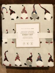 NEW Pottery Barn Teen Flannel Holiday Gnome Full 4pc Sheet Set Christmas Kids $99.95