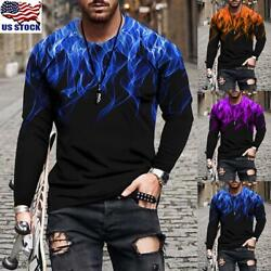 Mens Print Long Sleeve Crew Neck T Shirts Casual Slim Fit Muscle Tops Blouse US $18.22